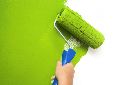 Painting white wall with green paint